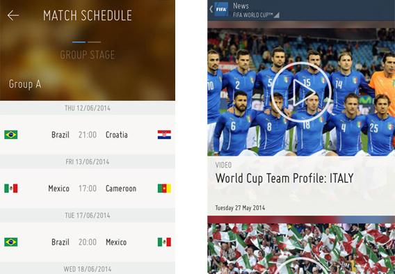 FIFA pour iOS (à gauche) et FIFA pour Android (à droite)