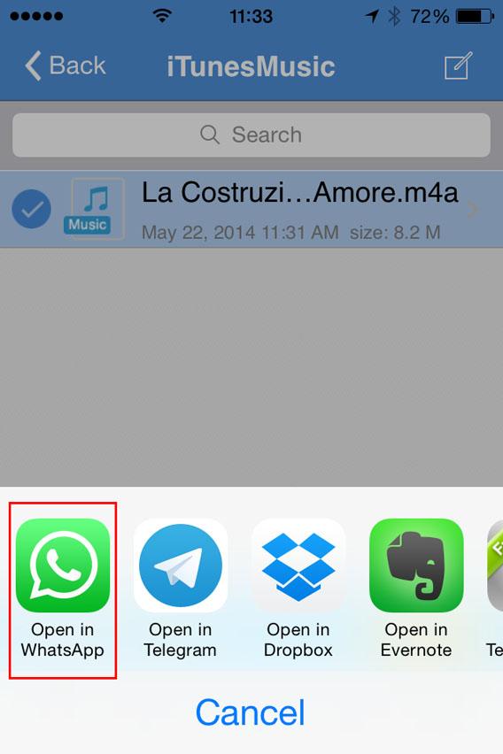 Seleziona Open in WhatsApp