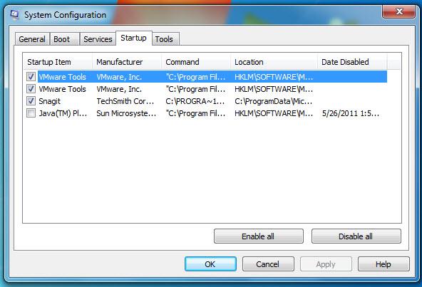 Listas de programas iniciados juntos com o Windows 7
