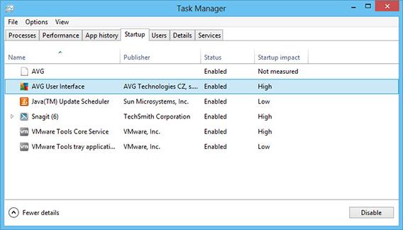 Listas de programas iniciados juntos com o Windows 8