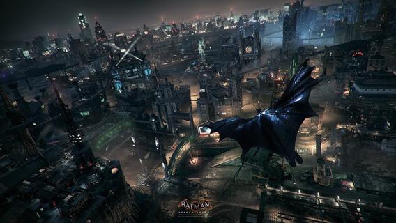 Batman planando pelo céu de Gotham