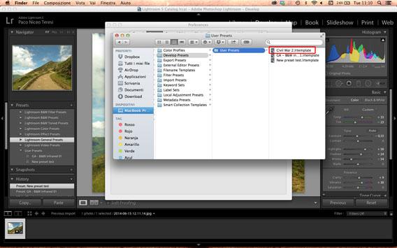 Paste Develop preset in the Presets folder 2