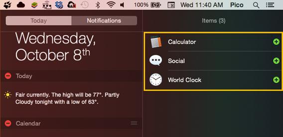 Centro notifiche aggiungi widget