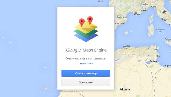 Recurso para criar um mapa novo no Google Maps Engine