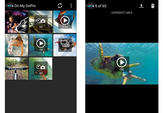 Interface principal do GoPro App