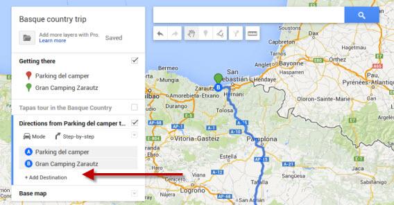 Recurso para adicionar destinos no Google Maps