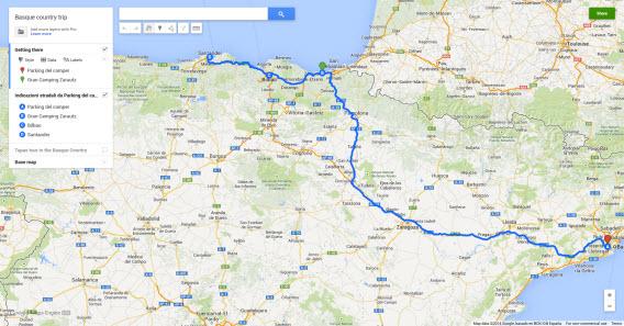 Itinerário da viagem no Google Maps
