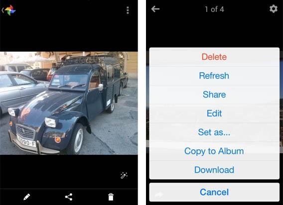 Interface de edição fotográfica do Google Plus