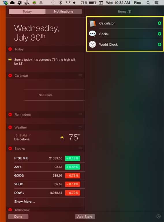 Ajouter des widgets au centre de notifications