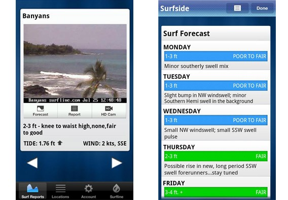 Interface principal do Surfline