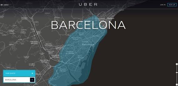 Imagem do mapa de Barcelona no Uber