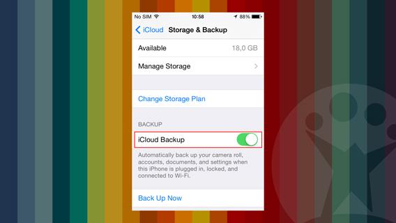 iCloud backup selettore 2