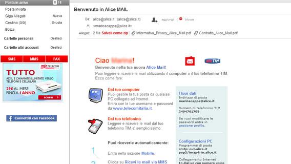 Alice mail registrazione e configurazione del tuo account for Mail il tuo account e stato hackerato
