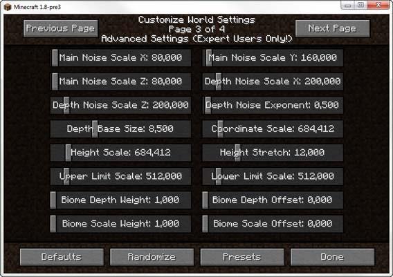 Minecraft - Advanced World Settings