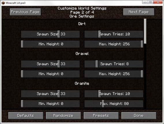 Minecraft - Ore Settings