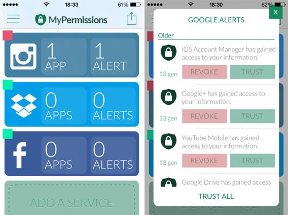 MyPermissions screenshots