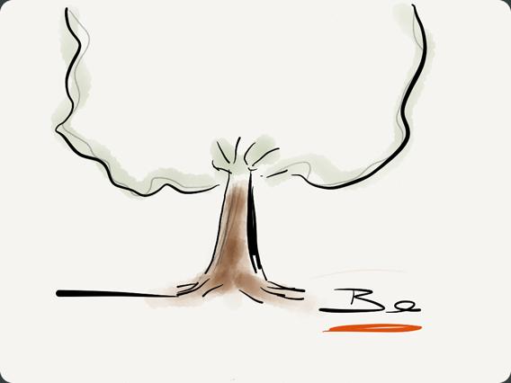 Desenho de uma árvore feito no Paper