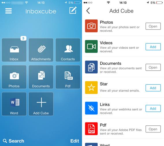 InboxCube - Home e aggiunta cubi