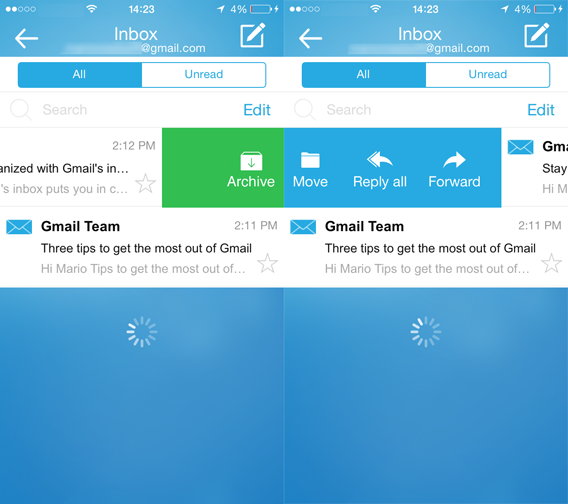 InboxCube - Swipe a sinistra e a destra