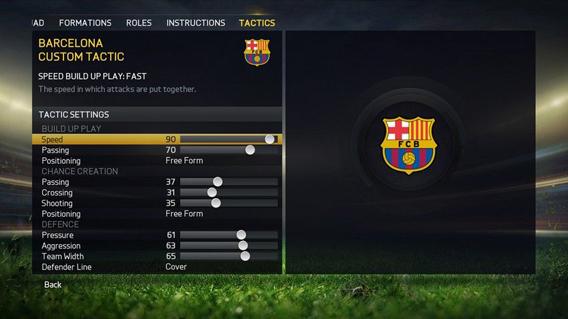 FIFA custom settings
