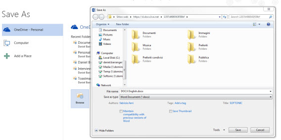 Save document OneDrive from Office 2013