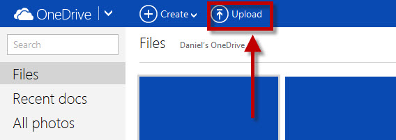 Upload on OnDrive