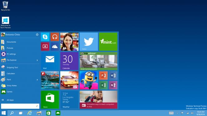 windows 10 menu start header