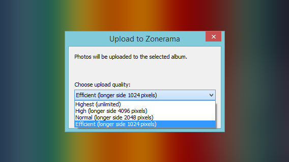 Zoner - Chose the quality before uploading to Zonerama