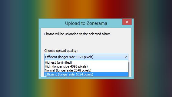 Zoner permite escolher a qualidade de backup das imagens antes de enviar ao Zonerama