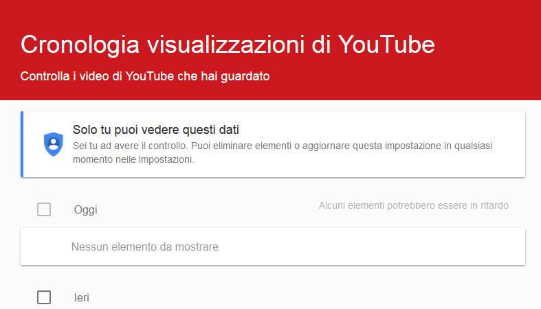 Eliminare cronologia Youtube