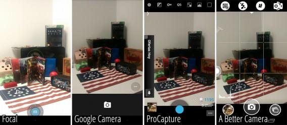 Comparação das pré-visualizações dos quatro apps do comparativo