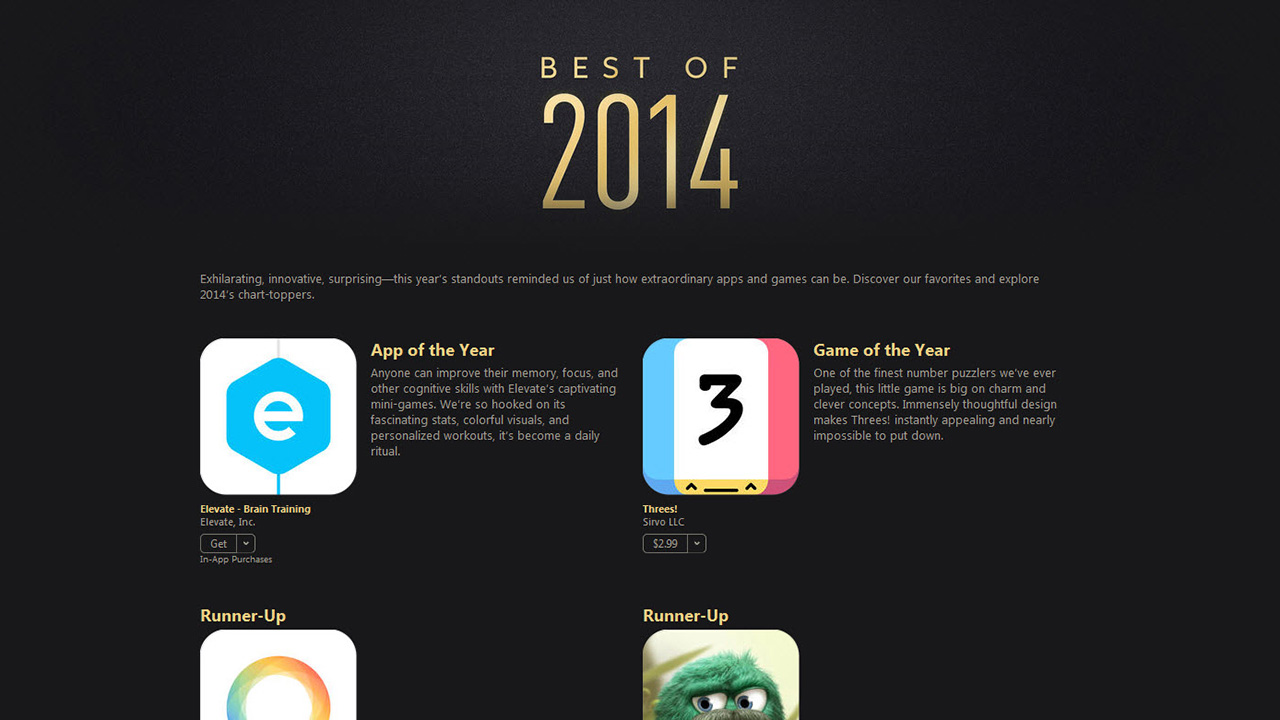 Apple kiest de beste apps en games van 2014