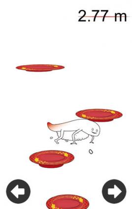 画面を左右に傾けると、ずーしーほっきーが傾いた方向にジャンプするので、うまく寿司皿にずーしーほっきーが乗っていけるようにコントロールしましょう。
