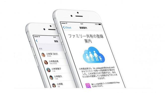 iOS8ファミリー共有、一人購入で家族全員が利用可能、過去のコンテンツも同様の扱い