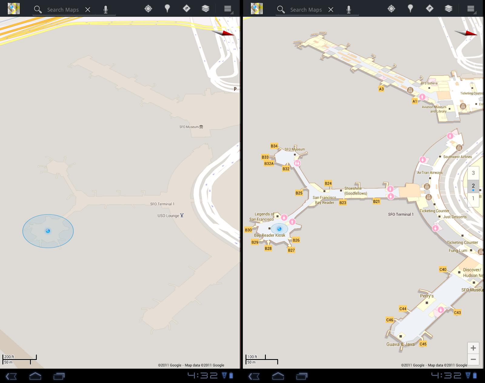 Antes e depois do Aeroporto Internacional de São Francisco (EUA) no Google Maps
