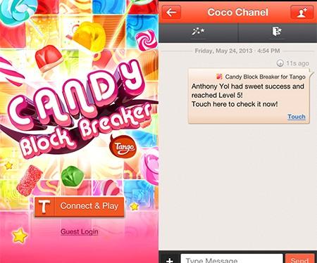 Candy Block Breaker, primeiro jogo a funcionar dentro do aplicativo Tango