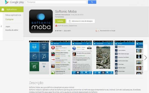 Página do Softonic Moba na Google Play Store