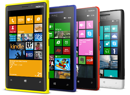 Aparelhos Nokia e HTC com Windows Phone