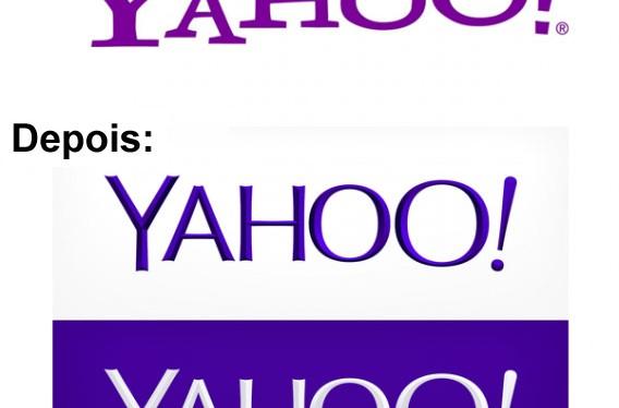Antes e depois do logo do Yahoo!