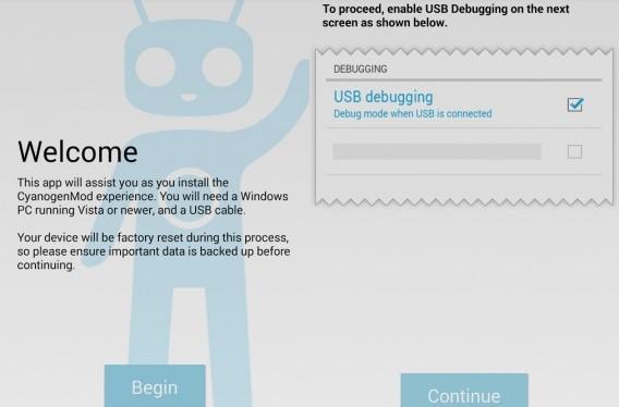 Tela de instalação do CyanogenMod Installer