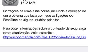 Atualização do iOS 7.0.4 corrige problema com FaceTime e falha de segurança