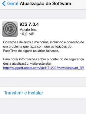 Tela de atualização do iOS 7 no iPhone