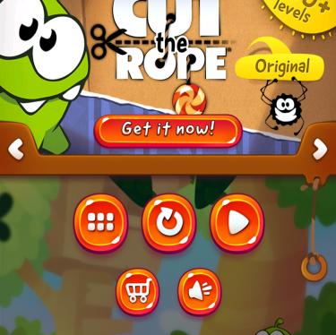 Tela principal de Cut the Rope 2 para iOS