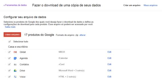 Criação de backups no Google Takeout