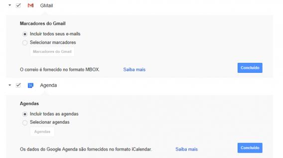 Opções de backup no Google Takeout