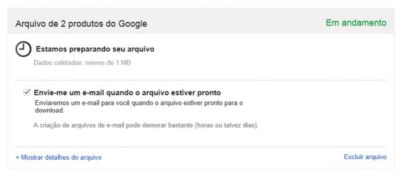 Criação de backups do Gmail e Google Agenda no Takeout