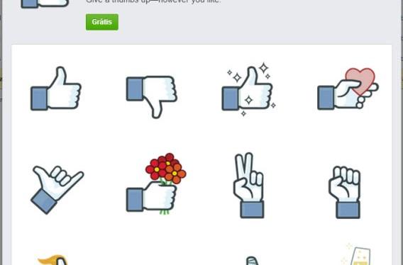 Coleção Curtir de figurinhas para o chat do Facebook