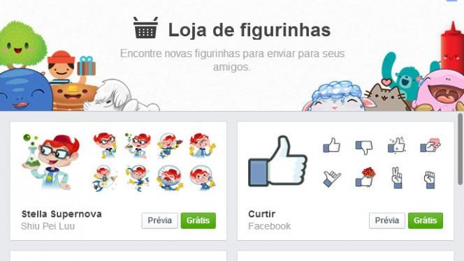 Loja de figurinhas do Facebook