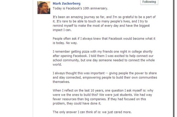 Mark Zuckerberg comemora 10 anos do Facebook com texto na rede social