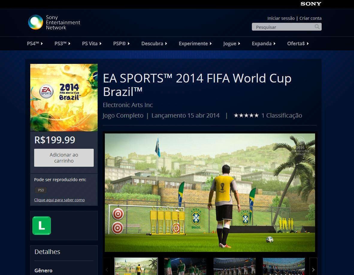 Copa do Mundo 2014 por R$ 200 na PS Store